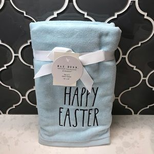 Rae Dunn HAPPY EASTER Blue Hand Towels